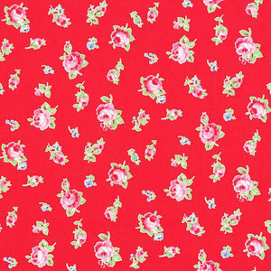 Flower Sugar cotton fabric by Lecien 30843-30 Roses on Red