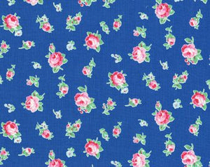 Flower Sugar cotton fabric by Lecien 30843-77 Roses on Blue