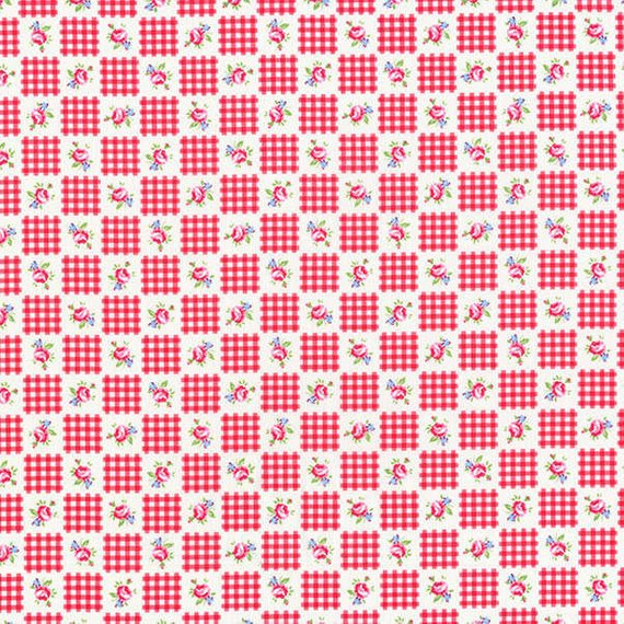 Flower Sugar cotton fabric by Lecien 30844-30 Squares in Red