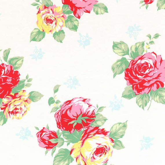 Flower Sugar cotton fabric by Lecien 30967-10 Large Roses on White