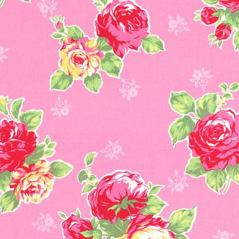 Flower Sugar cotton fabric by Lecien 30967-20 Large Roses on Pink