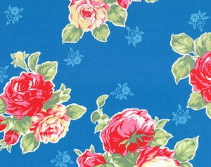 Flower Sugar cotton fabric by Lecien 30967-70 Large Roses on Blue