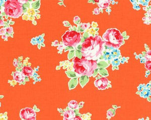 Flower Sugar cotton fabric by Lecien 30968-40 Rose Bouquet on Orange