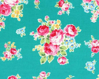 Flower Sugar cotton fabric by Lecien 30968-60 Bouquets on Teal