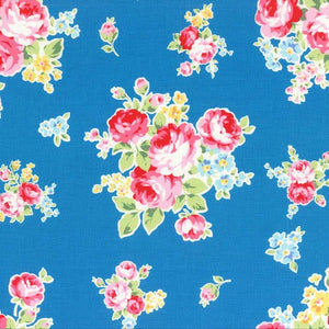 Flower Sugar cotton fabric by Lecien 30968-70 Bouquets on Blue
