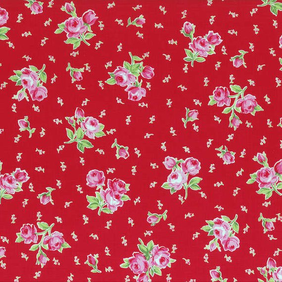 Flower Sugar cotton fabric by Lecien 30969-30 Roses on Red