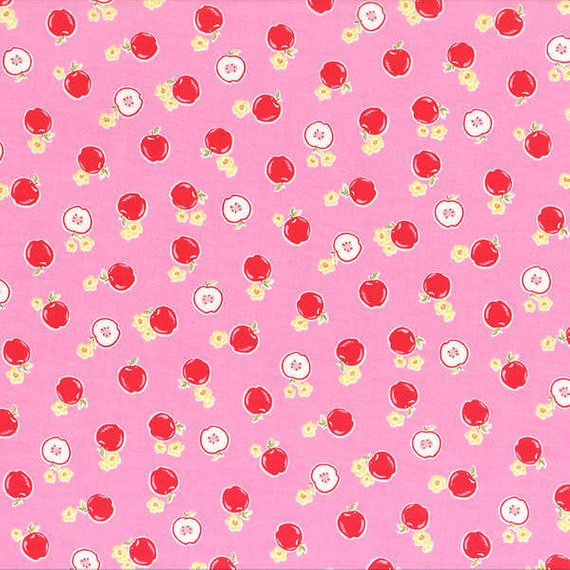 Flower Sugar cotton fabric by Lecien 30970-20 Apples on Pink