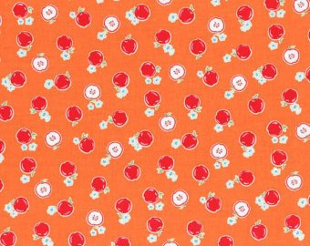 Flower Sugar cotton fabric by Lecien 30970-40 Apples on Orange