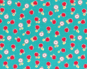 Flower Sugar cotton fabric by Lecien 30970-60 Apples on Teal