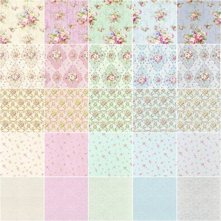 10 inch Squares Pre Cut Floral  Rococo & Sweet 42pcs/bundle fabric by Lecien 3101-3