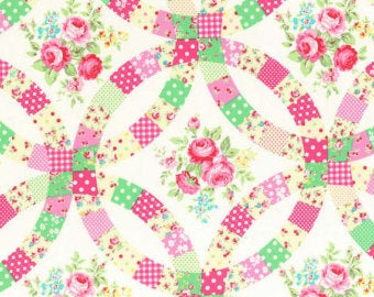 Flower Sugar cotton fabric by Lecien 31025-20 Double Wedding Ring Cream