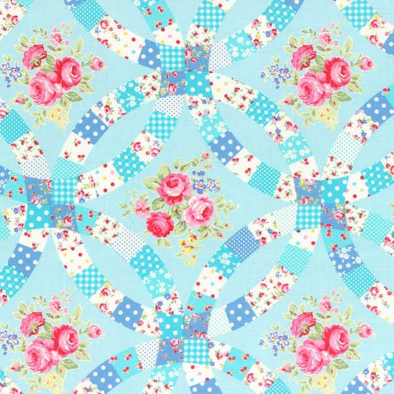 Flower Sugar cotton fabric by Lecien 31025-70 Double Wedding Ring Blue