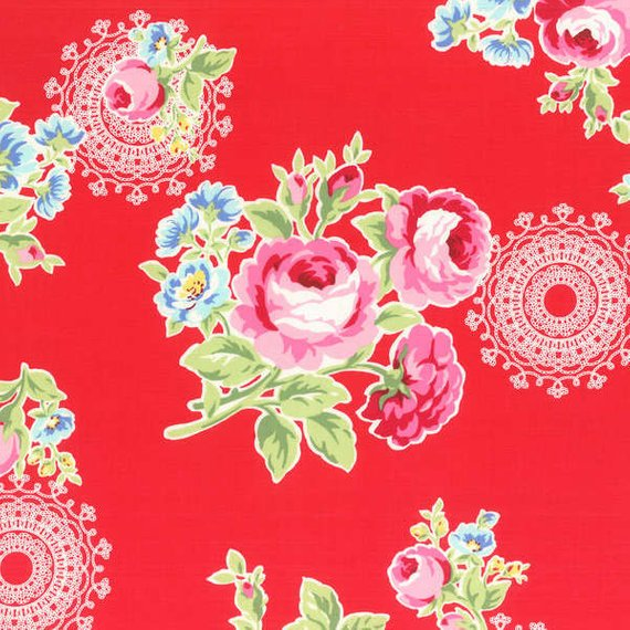 Flower Sugar cotton fabric by Lecien 31026-30 Roses and Doily on Red