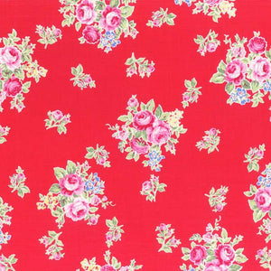 Flower Sugar cotton fabric by Lecien 31027-30 Small Roses on Red