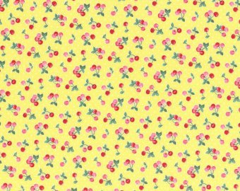 30's Child Smile  cotton retro fabric by Lecien 31044-50 Cherries on Yellow