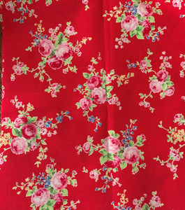 Flower Sugar cotton fabric by Lecien 31130-30 Roses on Red