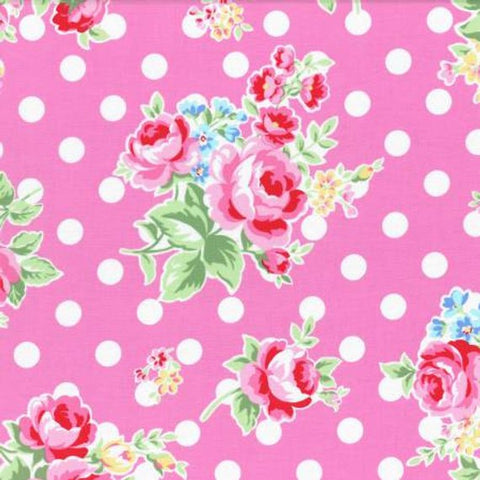 Flower Sugar cotton fabric by Lecien 31268-22 Polka Dots and Roses on Pink
