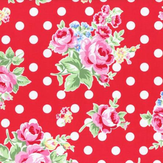 Flower Sugar cotton fabric by Lecien 31268-30 Polka Dots and Roses on Red