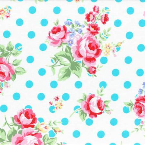 Flower Sugar cotton fabric by Lecien 31268-70 Polk Dots and Roses  on White