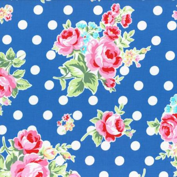 Flower Sugar cotton fabric by Lecien 31268-77 Polka Dots and Roses on Blue