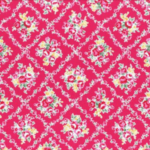 Flower Sugar cotton fabric by Lecien 31269-22 Floral on Dark Pink