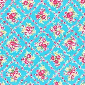 Flower Sugar cotton fabric by Lecien 31269-70 Floral on Blue