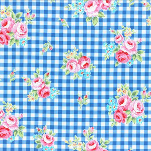 Flower Sugar cotton fabric by Lecien 31270-77 Dark Blue Gingham