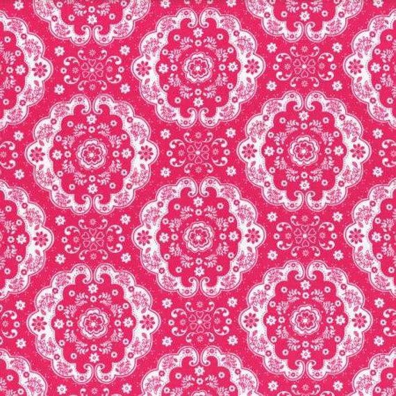 Flower Sugar cotton fabric by Lecien 31272-22 Dark Pink Lace