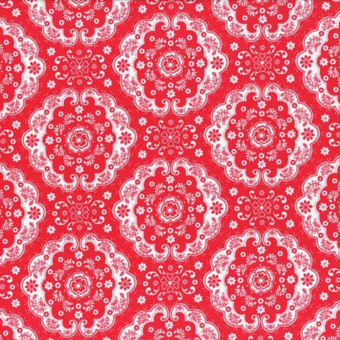 Flower Sugar cotton fabric by Lecien 31272-30 Red Lace