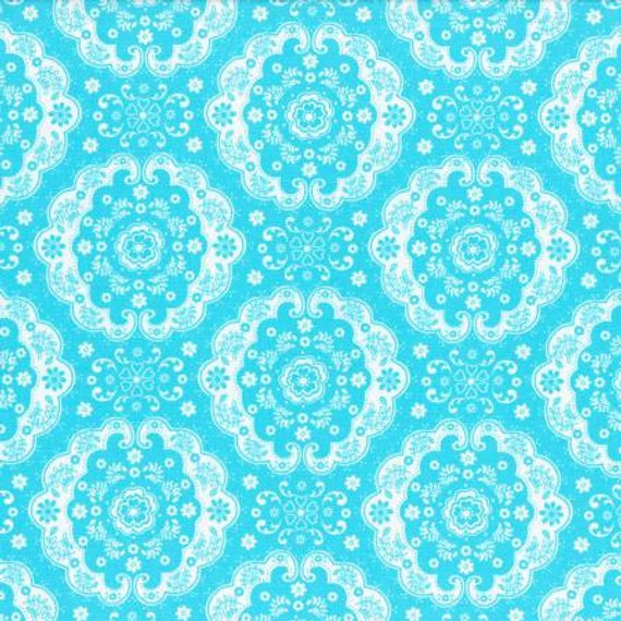 Flower Sugar cotton fabric by Lecien 31272-70 Blue Lace