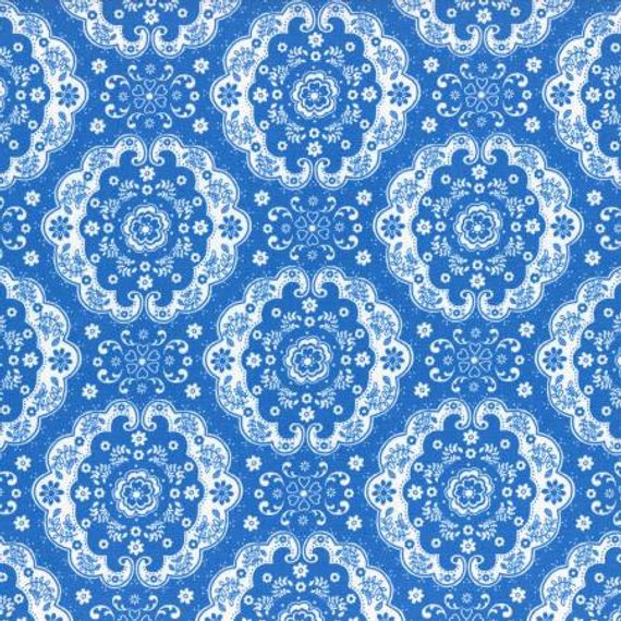 Flower Sugar cotton fabric by Lecien 31272-77 Dark Blue Lace