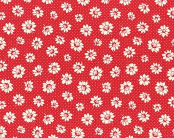30's Child Smile  cotton retro fabric by Lecien 31281-30 Red Floral
