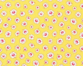 30's Child Smile  cotton retro fabric by Lecien 31281-50 Yellow Floral