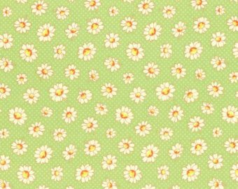 30's Child Smile  cotton retro fabric by Lecien 31281-60 Green Floral