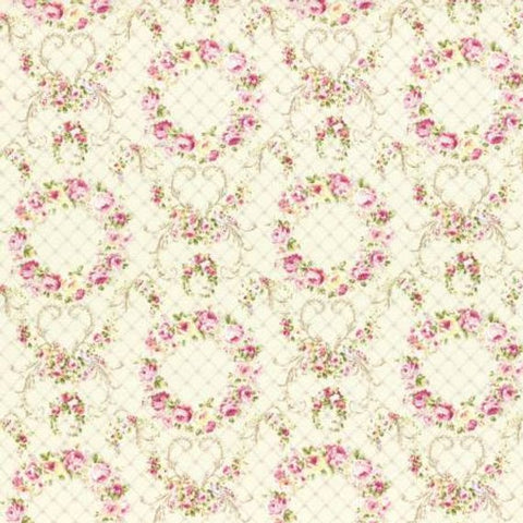 Wreaths of Roses Rococo and Sweet fabric by Lecien 31362-10 Cream