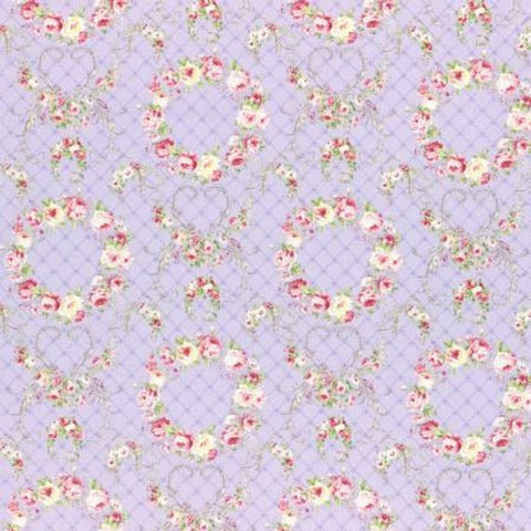 Wreaths of Roses Rococo and Sweet fabric by Lecien 31362-110 Purple
