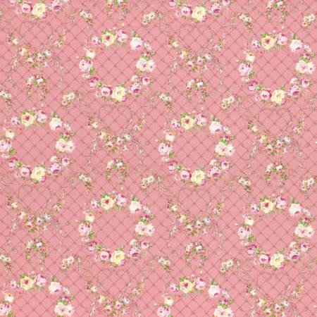 Wreaths of Roses  Rococo & Sweet cotton fabric by Lecien 31362-20 on Pink
