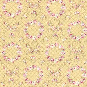 Wreaths of Roses  Rococo & Sweet cotton fabric by Lecien 31362-50 Golden Yellow