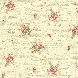 Rococo and Sweet fabric by Lecien 31363-10 Roses Baskets Cream