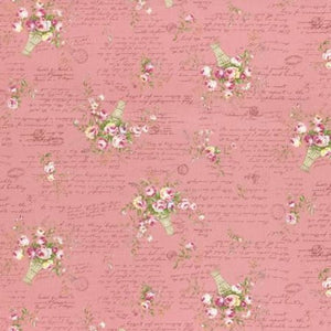 Rococo and Sweet fabric by Lecien 31363-20 Rose Baskets Pink