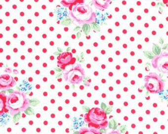 Flower Sugar cotton fabric by Lecien 31375-30 Roses on Cream with Red Dot
