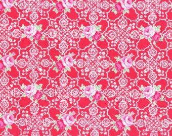 Flower Sugar cotton fabric by Lecien 31377-30 Roses and Lace in Red