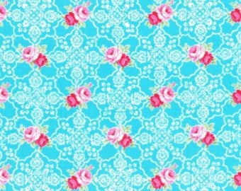 Flower Sugar cotton fabric by Lecien 31377-70 Roses and Lace in Blue