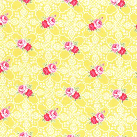 Flower Sugar cotton fabric by Lecien 31377-50 Roses and Lace in Yellow