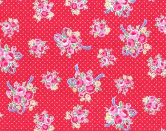 Flower Sugar cotton fabric by Lecien 31378-30 Ribbons and Roses  Red
