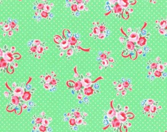 Flower Sugar cotton fabric by Lecien 31378-60 Ribbons and Roses  Green