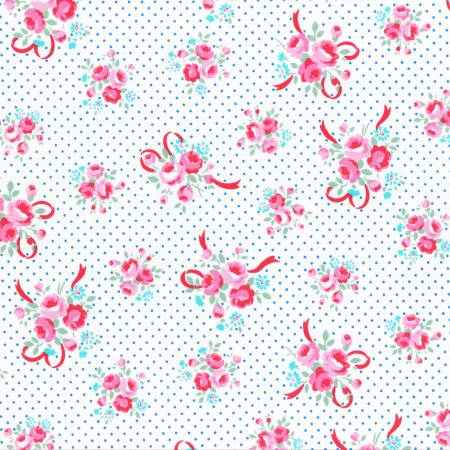 Flower Sugar cotton fabric by Lecien 31378-70 Ribbons and Roses  Blue Dot