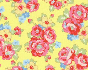 30's Child Smile  cotton retro fabric by Lecien 31444-50 Yellow Floral