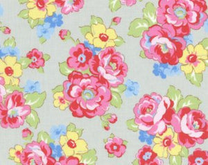 30's Child Smile  cotton retro fabric by Lecien 31444-90 Gray Floral