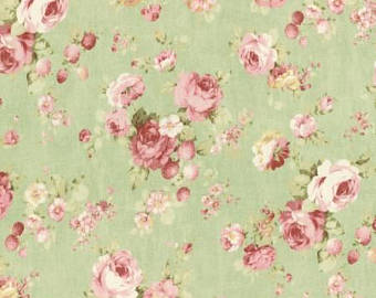 Durham cotton fabric by Lecien 31464-60 Roses on Green